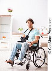 車椅子, ハンサム, 若者