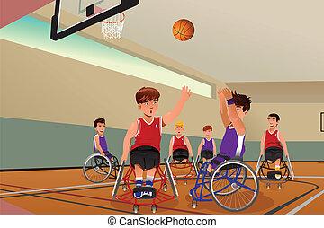 車椅子, バスケットボール, 遊び, 男性