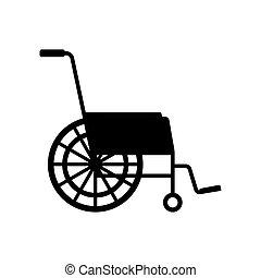 車椅子, ベクトル, 黒, アイコン
