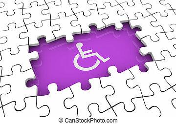 車椅子, 困惑, 不能, イラスト, 不具, 人, 問題, 小片, 穴, シンボル, 3d
