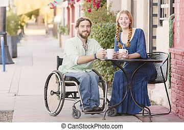 車椅子, 女性の 微笑, 人