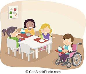 車椅子, 子供, stickman, 笑い, イラスト