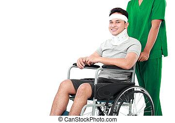 車椅子, 押す, 患者, 若い, 看護婦