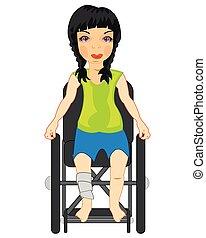 車椅子, 絶縁された, 白い背景, 女の子