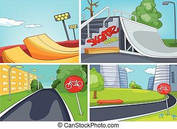車線, セット, skatepark, 背景, 自転車, 漫画