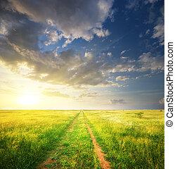車線, 中に, 牧草地, そして, 海原, 青, sky.
