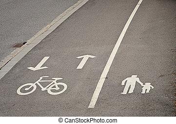 車線, 歩行者, 自転車, 予約された