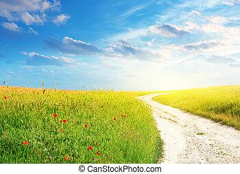車線, 緑の採草地