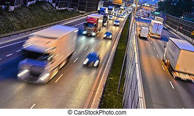 車線, controlled-access, ポーランド, 6, 夜, ハイウェー