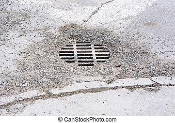 車行道, 城市, 流水, 風暴, 蓋, 碎石