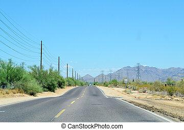 車行道, 透過, the, 沙漠
