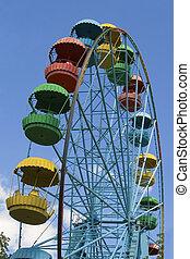 車輪, の, レビュー, 公園, 上に, 青い空, 背景