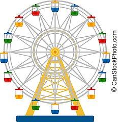 車輪, カラフルである, イラスト, フェリス, ベクトル, 白い背景