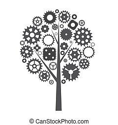 車輪, ギヤ, はめば歯車, 木, イラスト, 機械, ベクトル, concept.