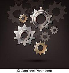 車輪, ギヤ, はめば歯車, 機械, ベクトル, アイコン