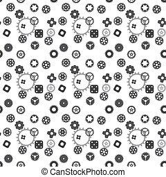 車輪, ギヤ, はめば歯車, pattern., seamless, 機械, ベクトル, illustration.