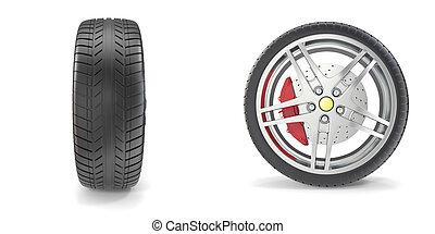 車輪, クロム, 隔離された, イラスト, タイヤ, バックグラウンド。, 白, 3d