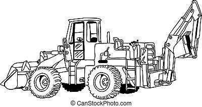 車輪, スケッチ, 隔離された, イラスト, 手, 現実的, ベクトル, 白, 引かれる, 積込み機, doodles