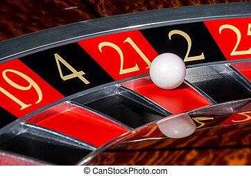 車輪, セクター, 21, 21, クラシック, ルーレット, カジノ, 赤