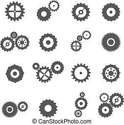 車輪, セット, ギヤ, コグ, アイコン