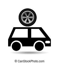 車輪, バン, 自動車, デザイン, 漫画, アイコン