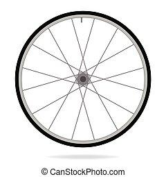 車輪, ベクトル, -, イラスト, 自転車, 背景, 白