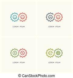 車輪, ロゴ, 2, セット, ギヤ