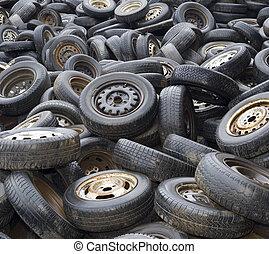 車輪, 上に, ゴミ捨て場