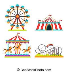 車輪, 乗車, コースター, 観察, メリーゴーランド, 魅力, サーカス, 公園, イラスト, ベクトル, 娯楽, ...
