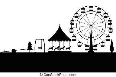 車輪, 公園, イラスト, フェリス, ベクトル, 黒, バックグラウンド。, 白, 輪郭, 娯楽