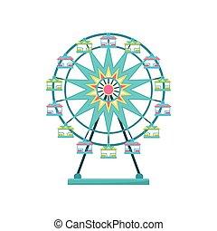 車輪, 公園, イラスト, 要素, フェリス, ベクトル, 背景, 白, 娯楽