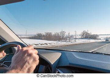 車輪, 冬, 手, 車。, windshield., ステアリング, ハイウェー, 光景