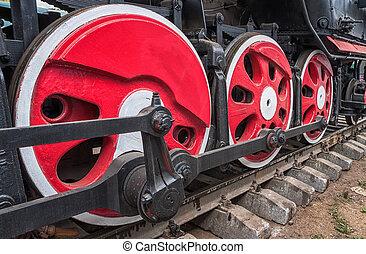 車輪, 古い, 機関車, 詳細, 棒, 蒸気