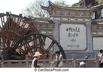 車輪, 古い, town., 麗江, 水, dayan