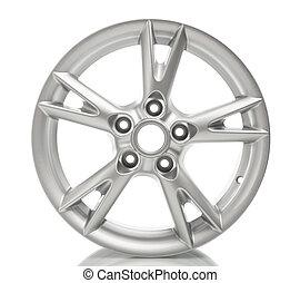 車輪, 合金, 白, 隔離された, アルミニウム