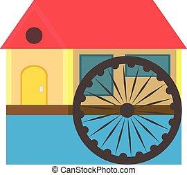 車輪, 平ら, スタイル, eco, 家, 屋根, 水 色, 背景, 白, 川, 赤