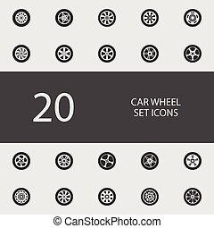 車輪, 平ら, セット, 自動車, icons., ベクトル, イラスト