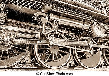 車輪, 棒, 古い, 機関車, 蒸気
