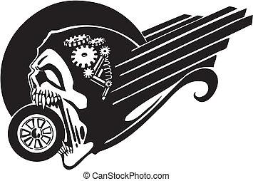 車輪, 死, -, illustration., ベクトル
