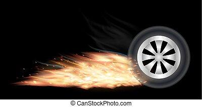 車輪, 火, 燃焼, 車