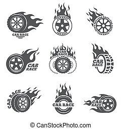 車輪, 火, 自動車, set., レース, 炎, ロゴ
