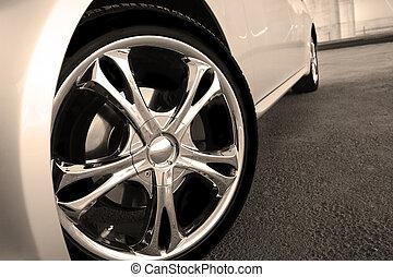 車輪, 自動車, の上, 点, 終わり