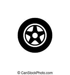 車輪, 自動車, ベクトル, 平ら, アイコン