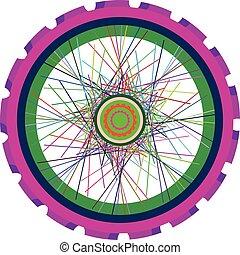 車輪, 自転車, 隔離された, ベクトル, スポーク,  Tyre, シルエット, 白