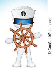 車輪, 船員, ステアリング, 3d