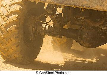 車輪, 詳しい, truck., 光景