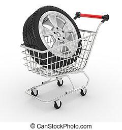 車輪, 買い物, 大きい, カート, 自動車, 3d