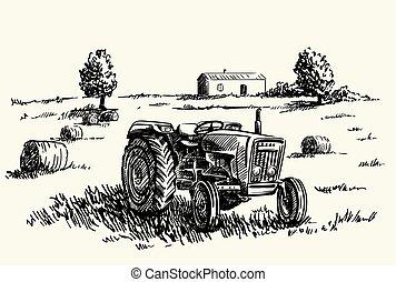 車輪, 農業, スケッチ, ベクトル, tractor.