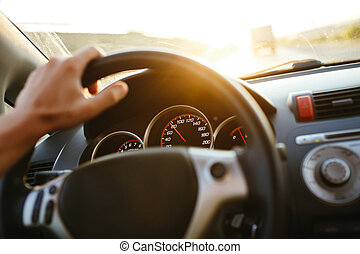 車輪, 運転, 自動車, 旅行, フォーカス, 手, 精選する, 背景, 人, ステアリング, sunset.