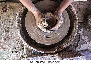 車輪, 陶工, 子供, ボール, 手, 形づくること
